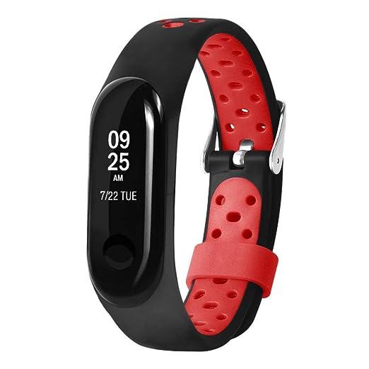 Manadlian Reemplazo Ventilation Wristband Correa de muñeca Suave Deporte Pulsera para Xiaomi Mi Band 3 (