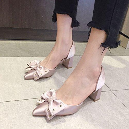 alto de Zapatos tacón Pink reborde Zapatos Sandalias tacón satinado Zapatos de de VIVIOO Sandalias de Temperamento arco huecos de honor de tacón Zapatos alto tacón alto Dama alto 8qw4BEt