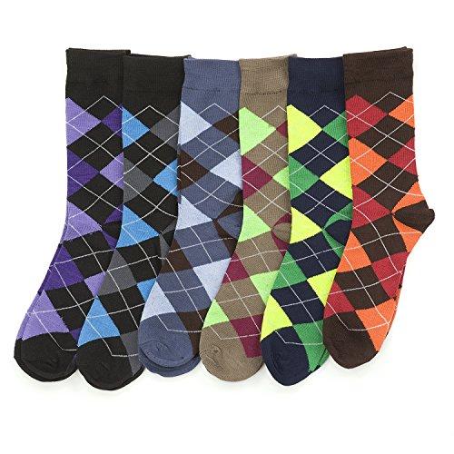 6 Pairs of excellent Mens Bright Argyle Colorful Dress Socks, Cotton Blend, #2800
