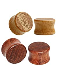 TBOSEN 4pcs Thick Organic Wood Ear Plugs Double Flare Flesh Tunnels Bamboo Stretchers Gauges 2g to 13/16 in