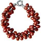 Striking Cultured Freshwater Red 8-10mm Pearl two strand chunky bracelet with a silver clasp, presented in an attractive satin silk pouch with a gift card