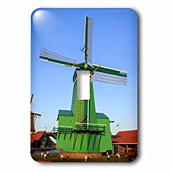 3dRose Danita Delimont - Windmills - Famous windmills of Zaanse Schans, Amsterdam, Holland - Light Switch Covers - single toggle switch (lsp_257781_1)