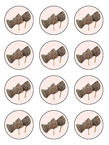 x12 Leopard Print Stiletto Shoes Edible Image Cupcake