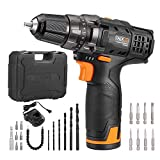 Tacklife 12V Lithium-Ion Cordless Drill/Driver Set - 3/8-inch All-Metal Chuck 2-Speed Max Torque