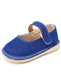 UBELLA Toddler Baby Girl's Denim Squeaky Shoes Punch Princess Mary Jane Flats (Removable Squeakers)