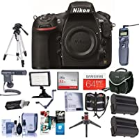 Nikon 810 Digital SLR Camera, 36.3MP - Bundle with Camera Bag, 64GB SDXC Card, 2x Spare Battery, Wired Remote Shutter Trigger, Video Light, Tripod, Cleaning Kit, Software Package, and More
