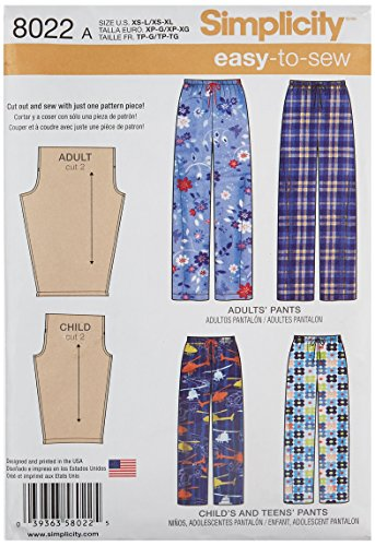 Simplicity Creative Patterns US8022A Child's, Teens' and Adults Pants Size: A (Xs - L/Xs - XL), 8022 from Simplicity Creative Patterns
