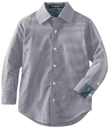 Ike Behar Little Boys' Long Sleeved Micro Plaid Dress Shirt, Blue, 5 Regular