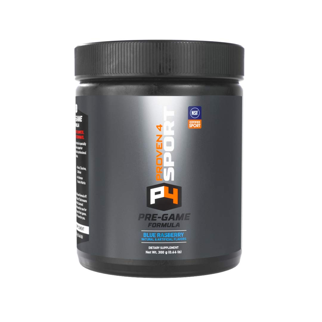 Proven4 preworkout for Men and Women with creatine and beta Alanine. NSF Certified Supplements for a Clean pre Workout Powder. Blue Raspberry 30 Servings by Proven4 Sport