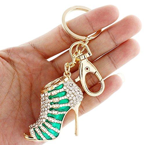Crystal Rhinestone Diamante High Heel Shoe Decoration Chain for Phone Car Bag Key Ring keychain Charm Gift - Perfect for Women Ladies Girls' Phone Key Bag (Green)