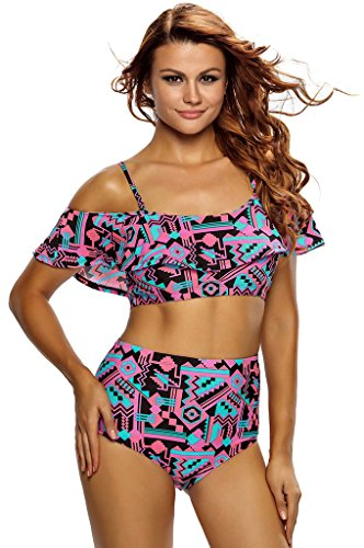Fortuning's JDS Printed Off Shoulder Flounce Bikini Top Two Piece Swimsuit For (Red Skirt Target)
