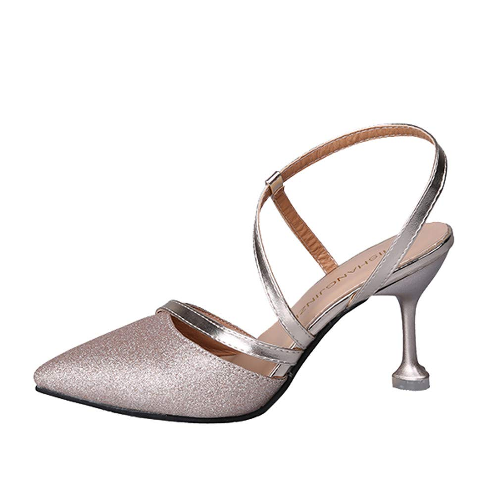 74aa8476d Lolittas Summer Stiletto Court Shoes for Women Ladies, Black Espadrilled Glitter  Sparkly Studded High Heel Strappy Closed Point Toe Slingback Wide Fit Shoes  ...