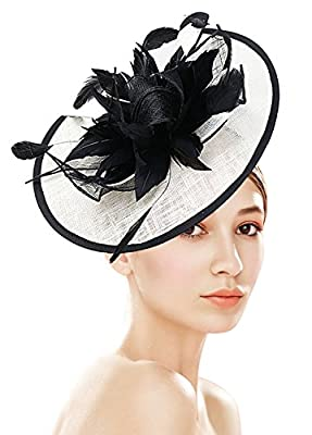 Z&X Fascinator with Headband Clip Cocktail Tea Party Feather Floral Pillbox Hat Black