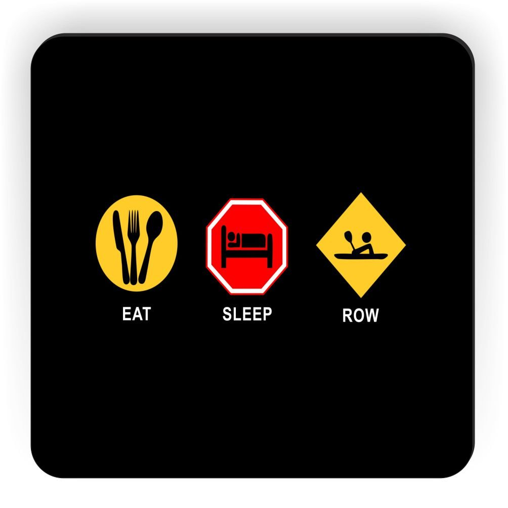 Rikki Knight Eat Sleep Row Design Square Fridge Magnet