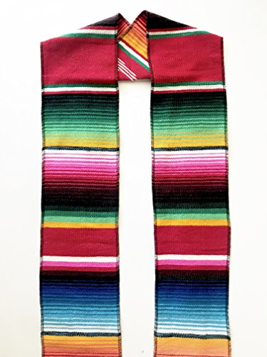 Authentic Mexican Serape Stole Sash For Graduation by Mexitems (Pick Your Color) -