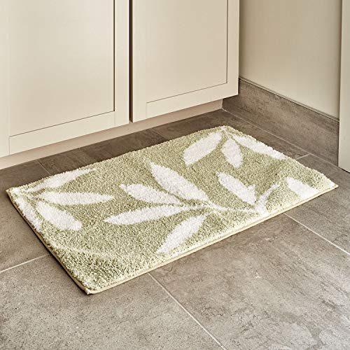 InterDesign Leaves Microfiber Polyester Bath Mat, Non-Slip Shower Accent Rug for Master, Guest, and Kids' Bathroom, Entryway, 34