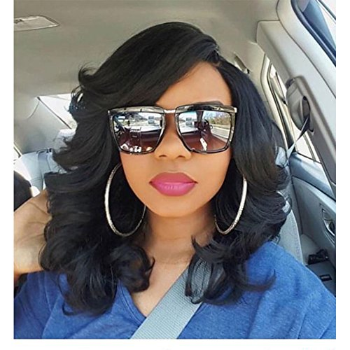 Black Women Wigs (Lady Miranda Loose Wave Wig Pure Color Curly Synthetic Heat Resistant Weave Full Wigs for Women (Black))