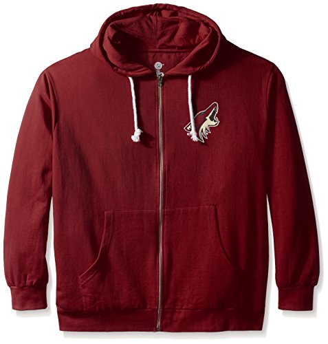 NHL Phoenix Coyotes Women's Full Zip Fleece Logo Distressed Screen Print Hoodie, 3X, Card Red/White - Fleece Phoenix Coyotes Sweatshirt