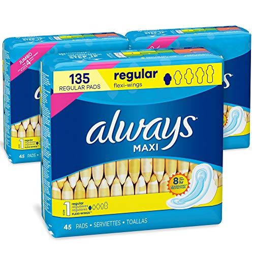 Always Maxi Feminine Pads with Wings for Women, Size 1, Regular Absorbency, FSA HSA Eligible, Unscented, 45 Count – Pack…