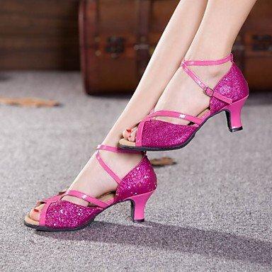 XIAMUO Nicht anpassbare Damen Tanzschuhe Latein Paillette Cuban Heel Outdoor mehr Farben, Blau, Us8.5/EU39/UK6.5/CN 40