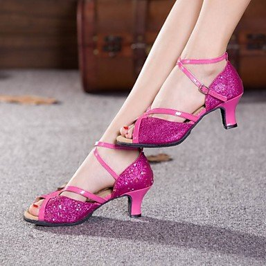 XIAMUO Nicht anpassbare Damen Tanzschuhe Latein Paillette Cuban Heel Outdoor mehr Farben, Fuchsia, US 6 / EU 36/UK4/CN 36