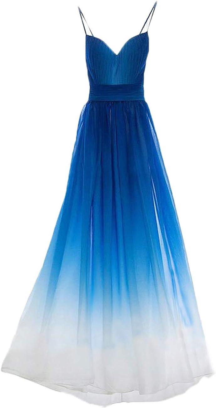 Libaosha Spaghetti Straps Royal Blue White Ombre Long Bridesmaid