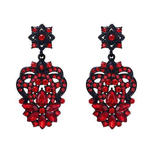 EVER FAITH Marquise Austrian Crystal Vintage Art Deco Star Flower Prom Dangle Earrings Red Black-Tone