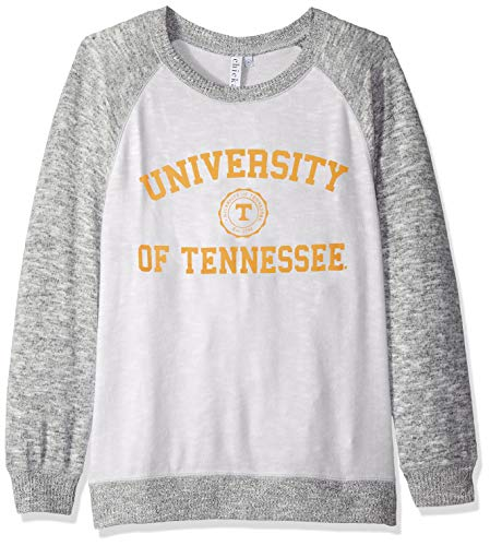 (chicka-d NCAA Officially Licensed University of Tennessee Ladies Cozy Crewneck Lightweight Sweatshirt/Sweater- Tennessee Volunteers Women's Apparel)