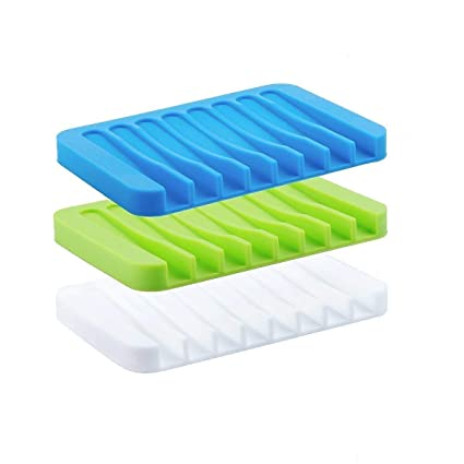Baskety Self Draining Silicone Drying Mat Silicone Soap Dish/Soap Holder/Soap Tray (Assorted Color Will Be Send)(Pack of 3)