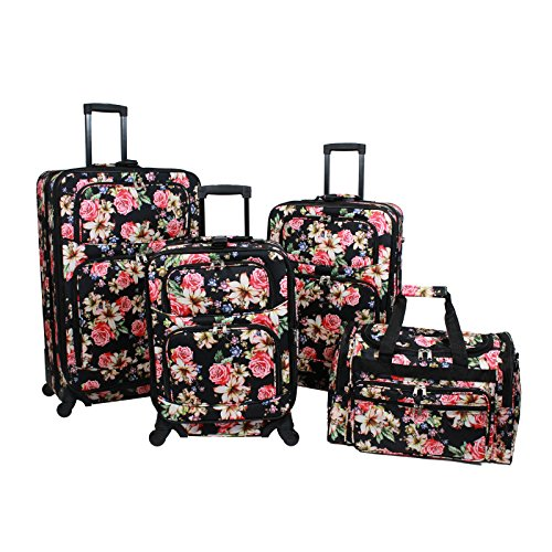 World Traveler Flower Bloom 4-Piece Rolling Expandable Spinner Luggage Set, Floral