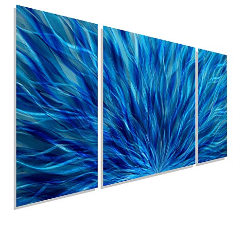 Statements2000 Blue Modern Abstract Metal Wall Art - Hand Painted Contemporary Wall Sculpture - Cascading Waters III by Jon Allen