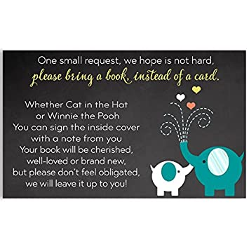 Amazon Elephant Bring A Book Inserts Chalkboard Baby Shower