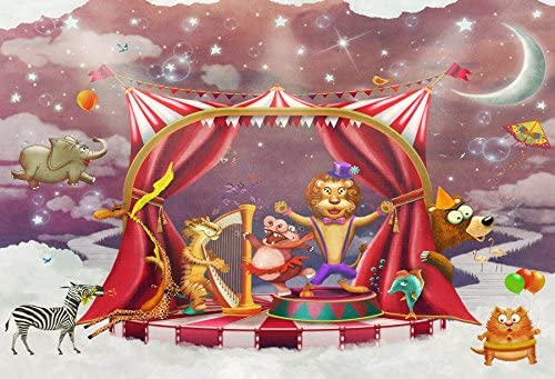 10x10ft Funfair Circus Carnival Background for Photography Animals Performing Photo Backdrop Party Decoration Boy Girl Portrait Booth Shoots Studio Props