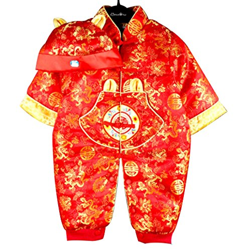 Baby Newborn Boy Girls Chinese New Years Asian Shirt Outfit ... (0 to 2 Months, Red Dragon)]()