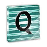 Letter Q Initial Black Teal Stripes Acrylic Office Mini Desk Plaque Ornament Paperweight