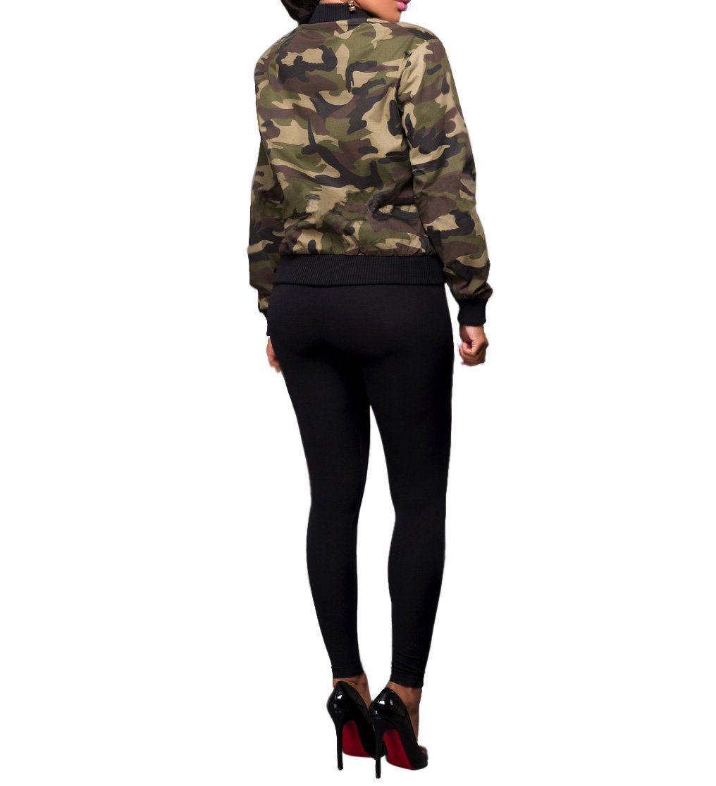 Sexycherry Faddish Military Casual Camouflage Lightweight Thin Short Jacket Coat For Women,Camouflage,Large by sexycherry (Image #4)