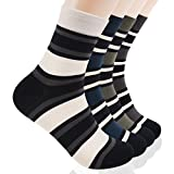 Ariatoe Mens 4 Pack Luxury Striped Colorful Cotton Dress Socks Mid Calf