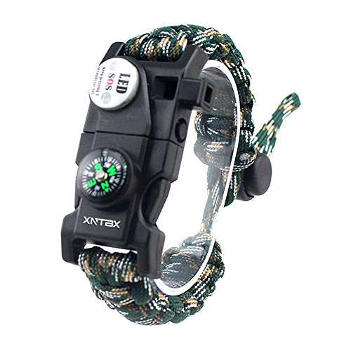 XNTBX Survival Paracord Bracelet - Survival Gear Kit with SOS LED Light, Compass, Fire Starter, Whistle, Scraper, Emergency Knife - by BEST Wilderness Survival-Kit For Hiking/Camping