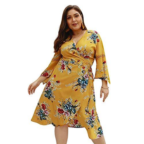 Bianca Sexy Maniche colore A Vestito Abito Da 9 Sottile Grandi Dimensione Stampa Lunghe Giallo Con Di Yzibei Xxl Punti Dimensioni Donna Sister Fat AHSxwx