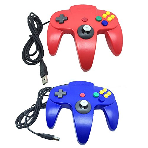 Pelod 2 packs Classic Retro N64 Bit USB Wired Controllers for PC and Mac(Red and Blue)