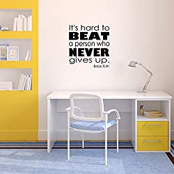 Babe Ruth Quote Vinyl Wall Decal for Baseball, Sports Fans - It's Hard to Beat a Person Who Never Gives Up - Motivational Decor for Athletics, Business, School - 15in x 15in, Black