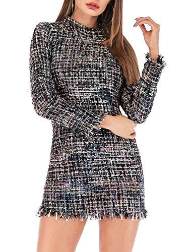 Miessial Women's Plaid Tweed Mini Dress Long Sleeve Elegant Office Tunic Dress Gray 4/6 ()
