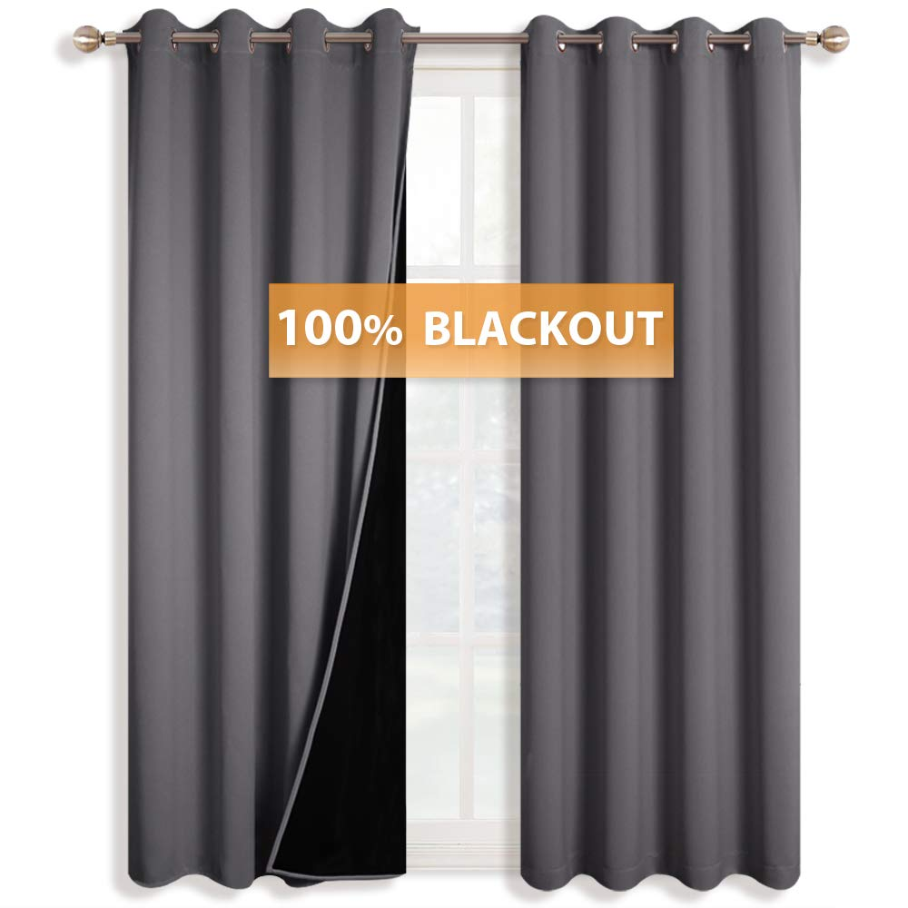 RYB HOME Thermal Insulated Blackout Curtain Drapes Full Shading Room Darkening Window Treatment Panels for Bedroom/Kitchen/Living Room/Nurnery, Wide 52'' x High 95'', Grey, 2 Pcs