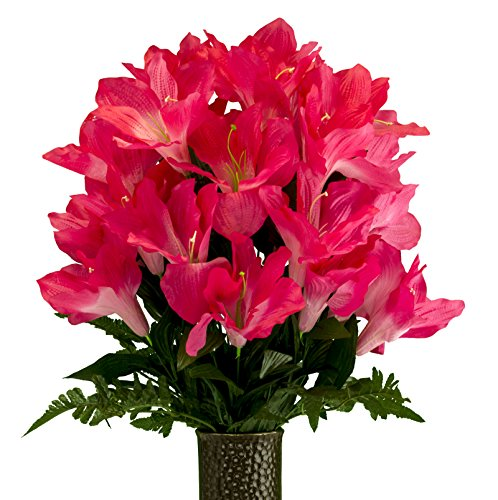 Amaryllis Vase - Beauty Amaryllis, Artificial Bouquet, featuring the Stay-In-The-Vase Design(c) Flower Holder (MD2079)