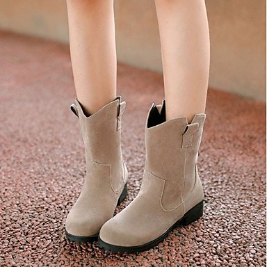 DESY Mujer Zapatos Semicuero Otoño Invierno Botas de Moda Botas Tacón Robusto Dedo redondo Botines/Hasta el Tobillo Lunares Para Casual Negro beige