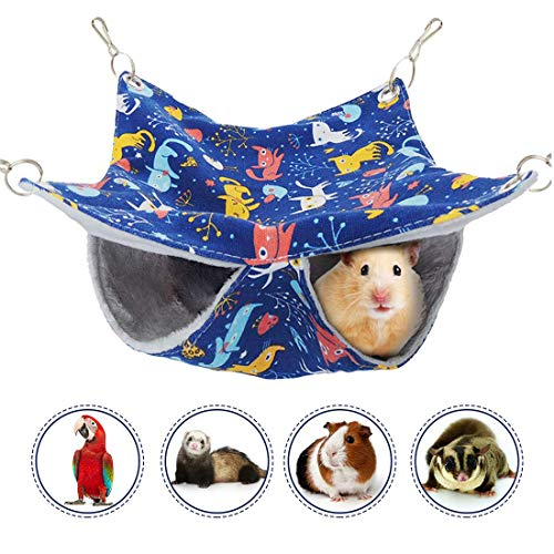 Wontee Small Pet Hammock Bunkbed Hanging Nest Bed for Parrot Parakeet Cockatiel Hamster Rat Chinchilla Ferret Playing…