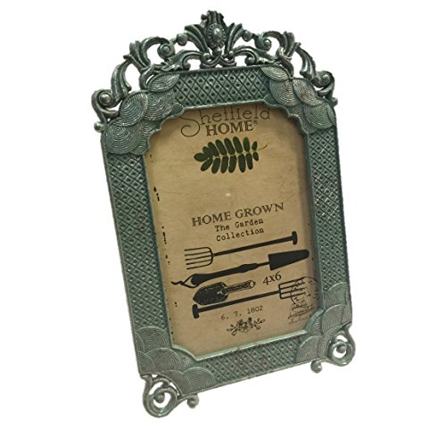 Antiqued Green Garden Metal 4 x 6 Table Top Picture Frame Vertical Orientation