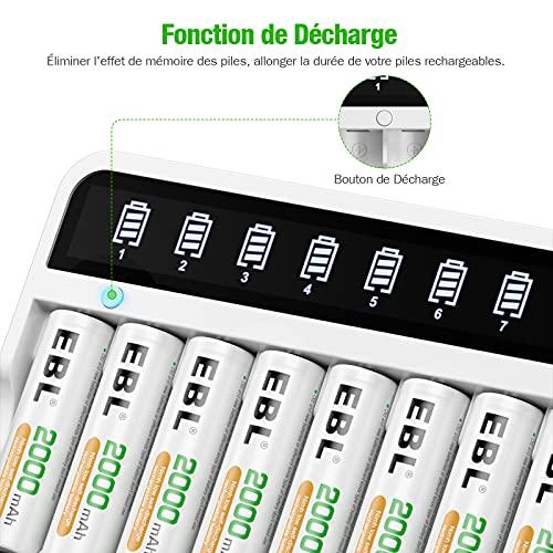 EBL Chargeur de Piles Rapide Individuel pour Les Piles Rechargeables AA/AAA NI-MH NI-CD et Les périphériques USB, avec Fonction de décharge