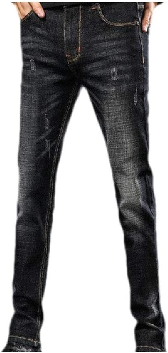 VITryst Mens Personalized Ombre Pocket Hole Stretch Mid Waist Washed Jean Pant