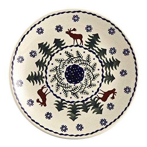 Pottery Christmas Plate (Polish Pottery Christmas Tree Reindeer Moose Salad Plate, 7-Inch)